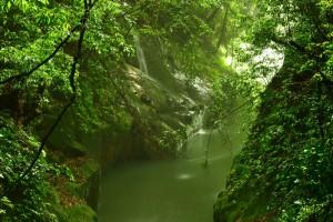 小雨に輝く霧島神水峡