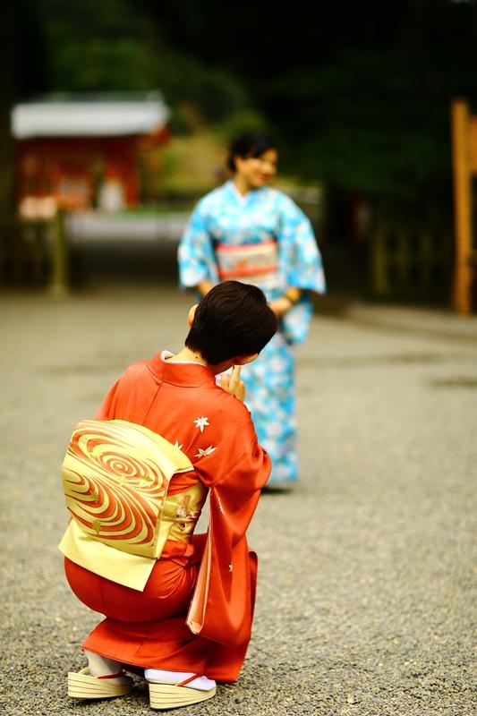 和服で参拝、ぶらり霧島神宮。11月21日のお客様