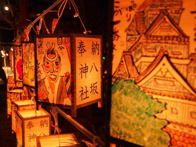 月夜の竹灯籠