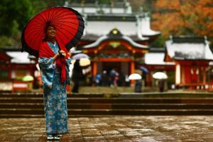 和服で参拝、ぶらり霧島神宮。12月6日のお客様
