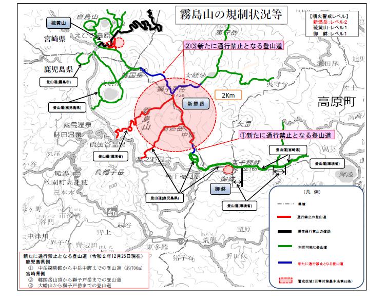 2020,12,25 霧島山(新燃岳)の噴火警戒レベル引き上げについて(お知らせ)for English